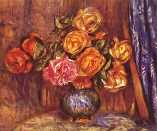 Roses Before the Blue Curtain - Pierre-Auguste Renoir