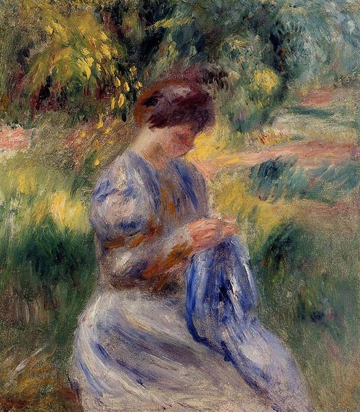The Embroiderer (Woman Embroidering in a Garden) - Renoir Pierre-Auguste