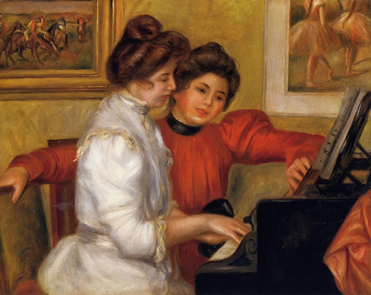 Young girls at the piano pierre auguste renoir wikiart for Auguste renoir paris
