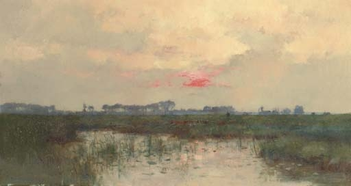 Coucher de soleil sur l'étang - Pierre Emmanuel Damoye