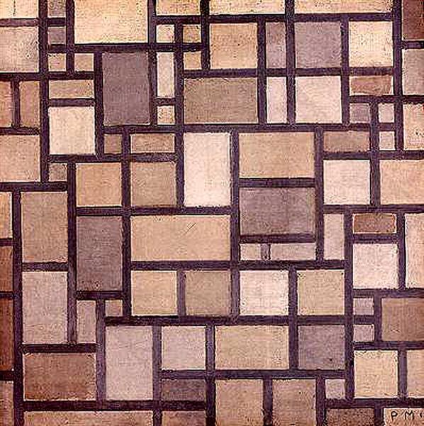 Composition: Light Color Planes with Grey Contours, 1919 - Piet Mondrian
