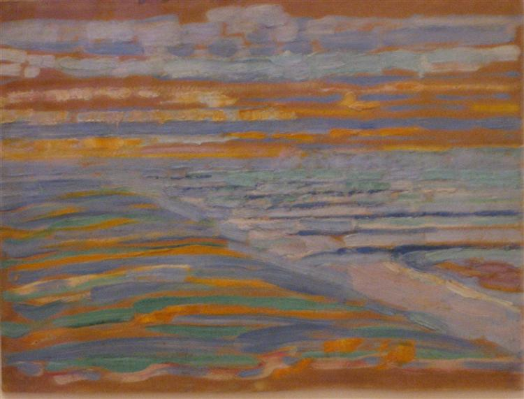 View from the Dunes with Beach and Piers - Piet Mondrian