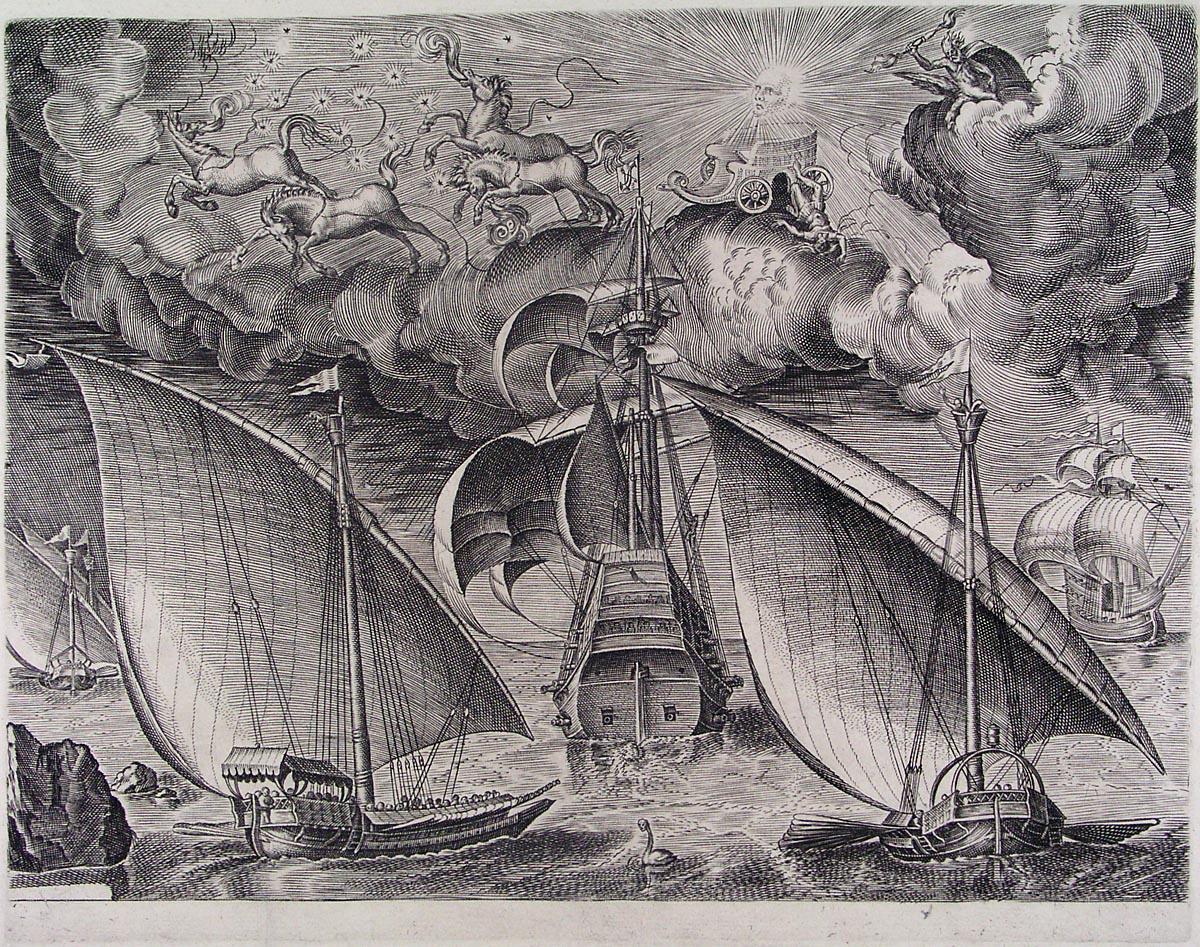 Man of War between two Galleys, 1565