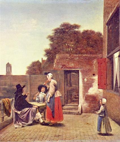 A Dutch Courtyard - Pieter de Hooch
