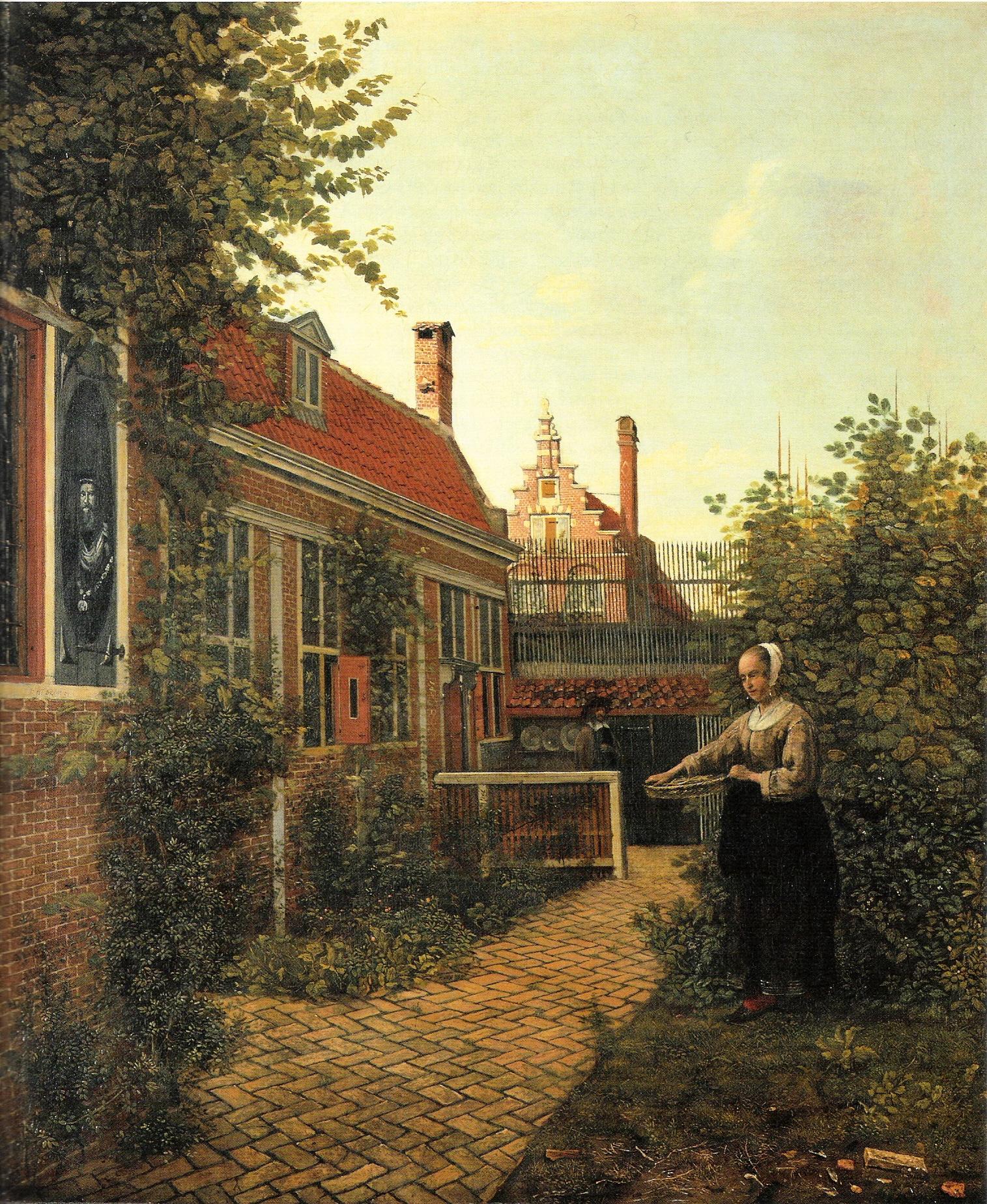 Woman with basket of beans in the kitchen garden, 1651 - Pieter de ...