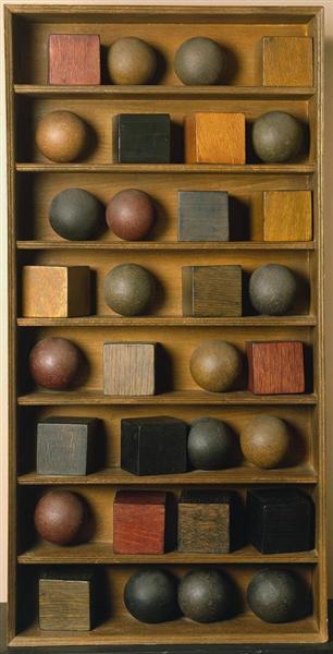 16 Balls, 16 Cubes in 8 Rows, 1966 - Pol Bury
