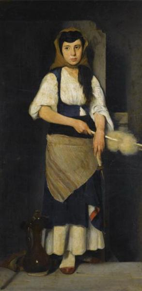 Girl with Distaff and Spindle - Polychronis Lembesis