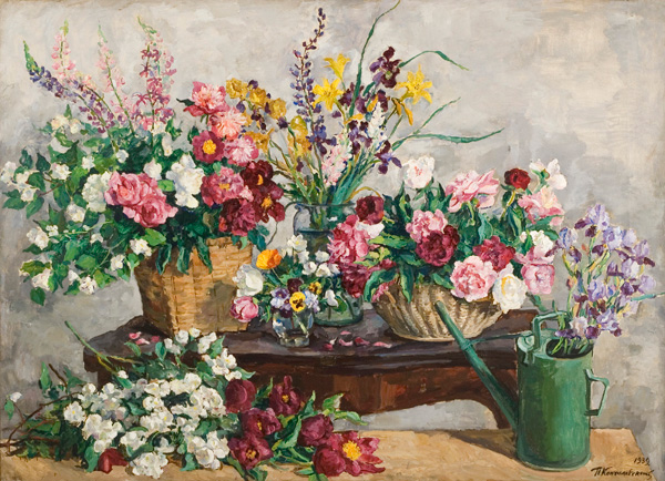 Still Life. Four bouquets on the table and watering can., 1939