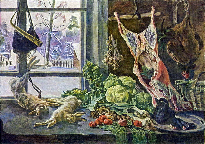 Still Life. Meat, poultry and brussels sprouts against the window., 1937