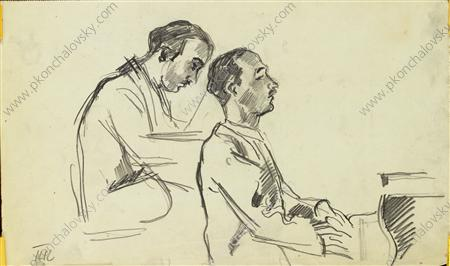 Two sketches of Italian pianist Carlo Tsekki at the piano for a portrait, 1930