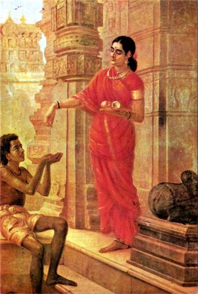 Lady Giving Alms - Ravi Varma