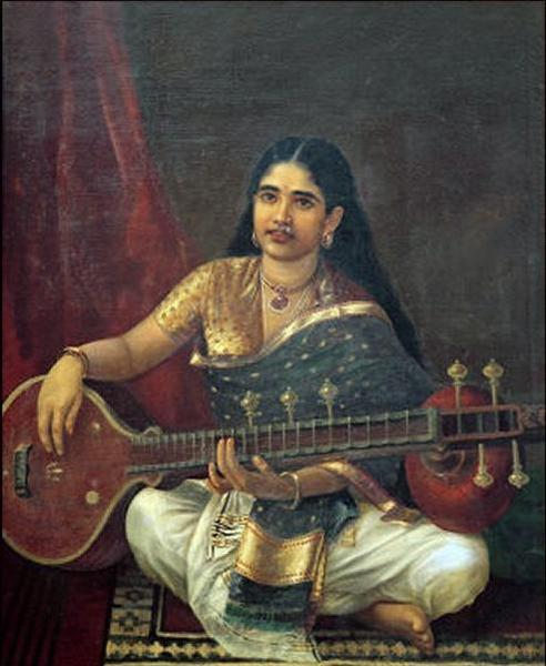Woman with Veena - Raja Ravi Varma