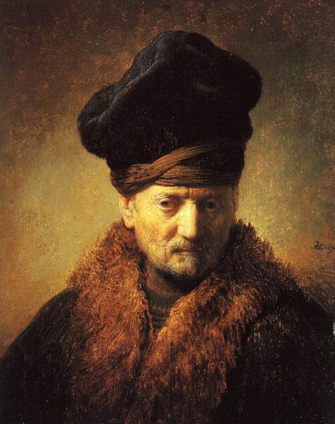 Bust of an Old Man in a Fur Cap, 1630 - Rembrandt