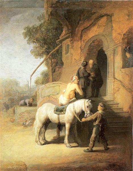 Charitable Samaritan (also known as The Good Samaritan), 1638 - Rembrandt