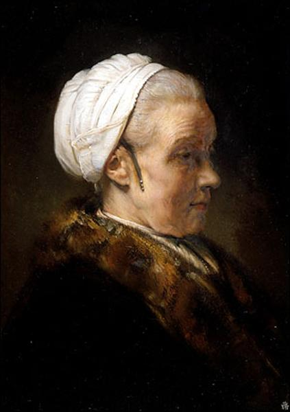 Lighting Study of an Elderly Woman in a White Cap, c.1640 - Rembrandt