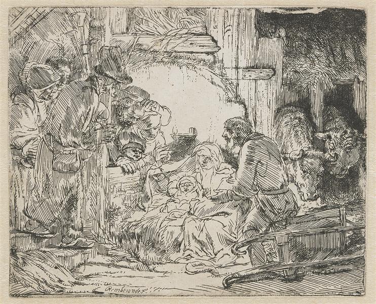 Nativity, 1654 - Rembrandt; Art Advent Calendar