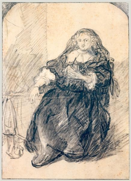 Seated Saskia with a letter in her left hand, c.1633 - 1635 - Рембрандт