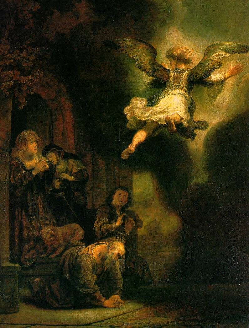 The archangel raphael taking leave of the tobit family 1637