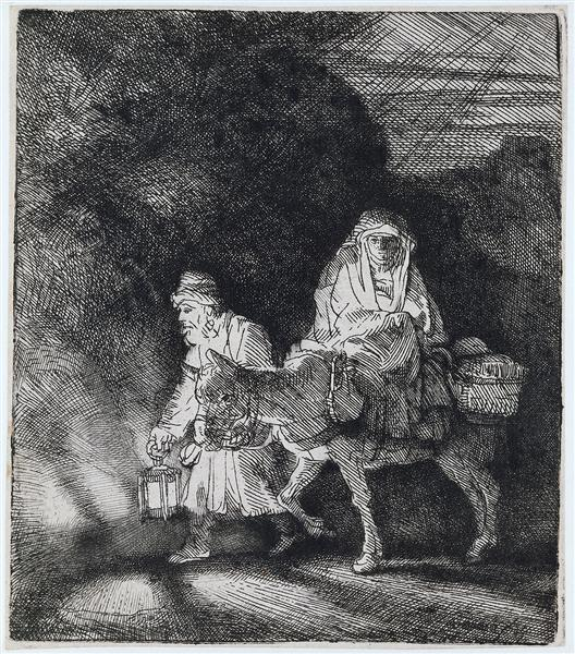 The flight into Egypt a night piece, 1651 - Rembrandt