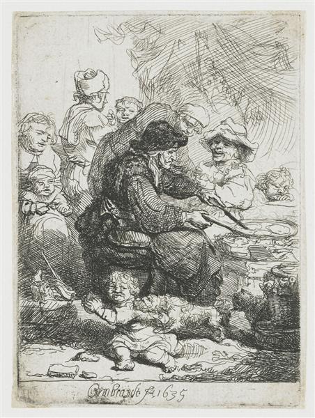 The pancake woman, 1635 - Rembrandt