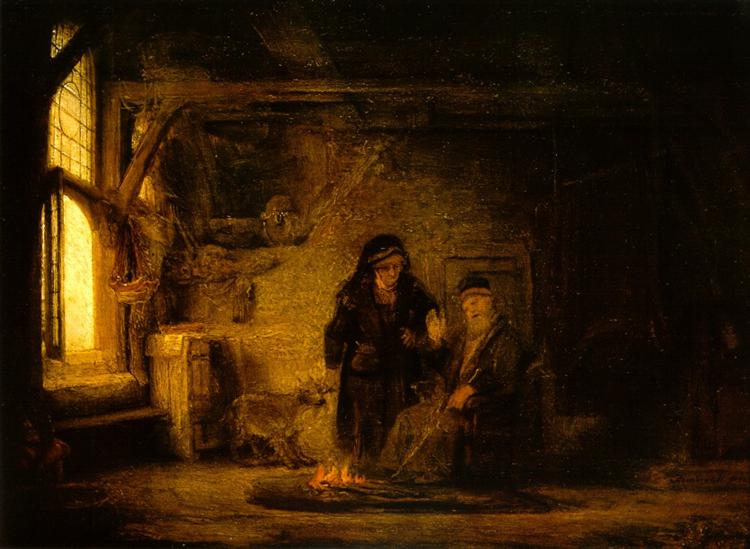 Tobit and Anna with a Goat, 1645 - Rembrandt