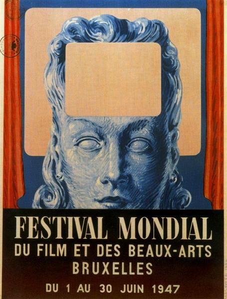 Poster of International festival of cinema and fine arts in Brussels (1947), 1947 - Rene Magritte