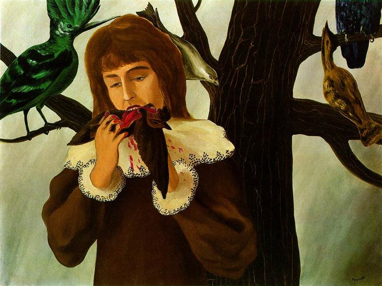 Young girl eating a bird (The pleasure), 1927 - Rene Magritte