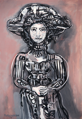 Lady with Hat in Gray-Pink Background, 1975 - Rene Portocarrero