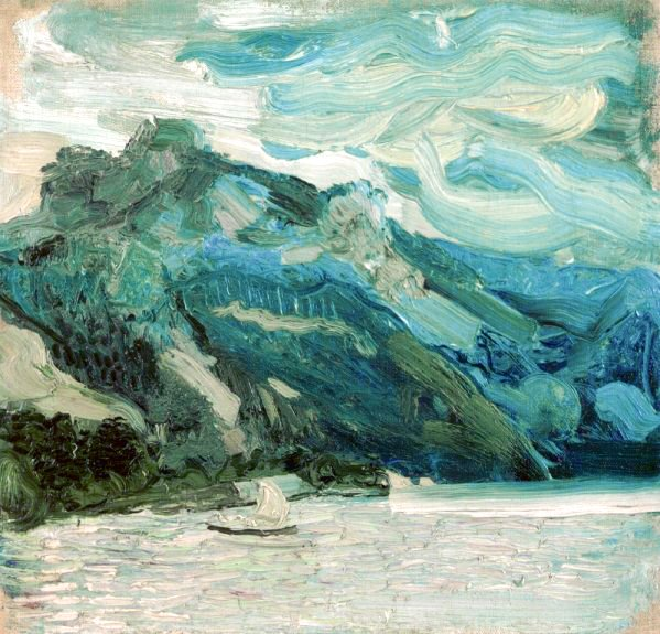 Lake Traunsee with the Schlafende Griechin mountain, 1907 - Рихард Герстль