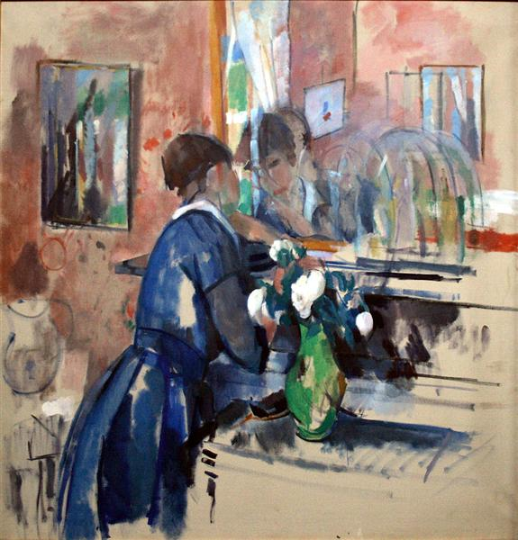 Lady in Blue in front of a Mirror, 1914 - Rik Wouters