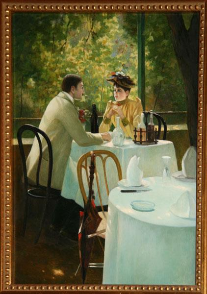 Seated in a Cafe - Robert Brackman