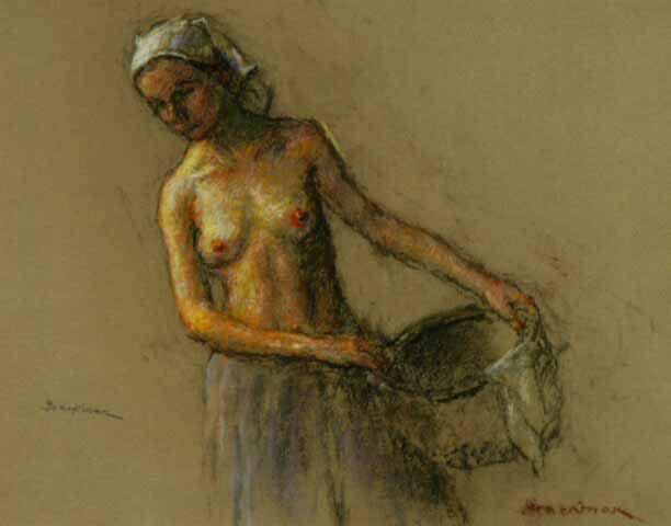 Woman with basket - Robert Brackman