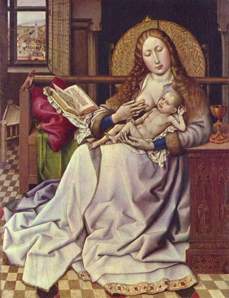 Virgin and Child Before a Firescreen - Robert Campin