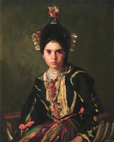 La Montera. Segovia Girl in Fiesta Costume, 1912 - Robert Henri