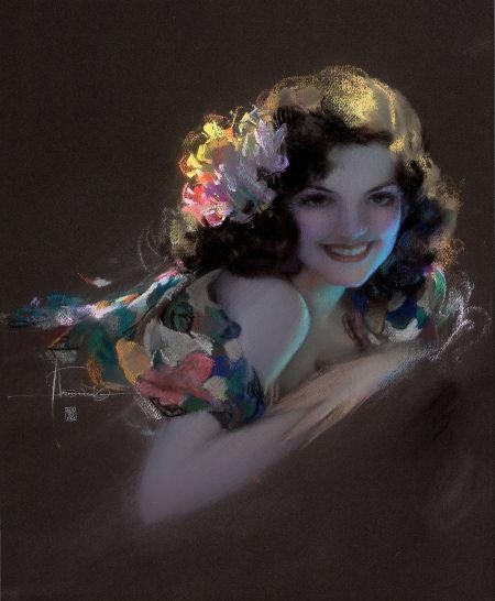 Pin-Up with Flowers - Rolf Amstrong