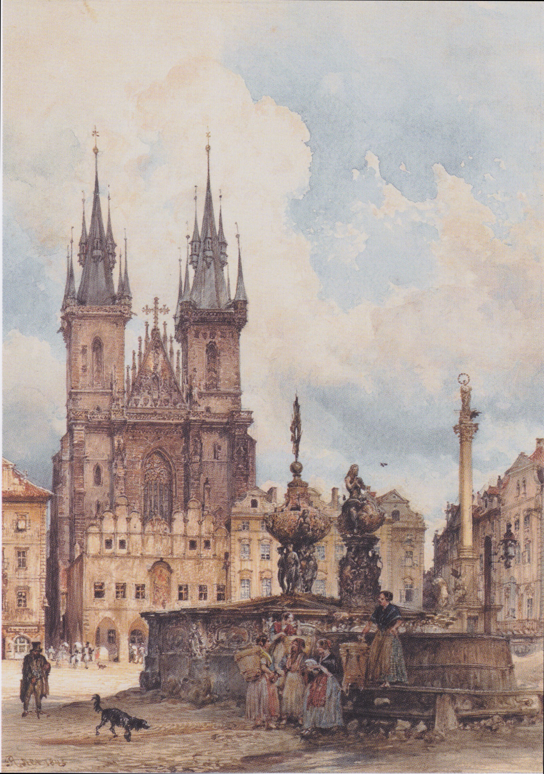 View of the Old Town Square with the Church in Prague They, 1843