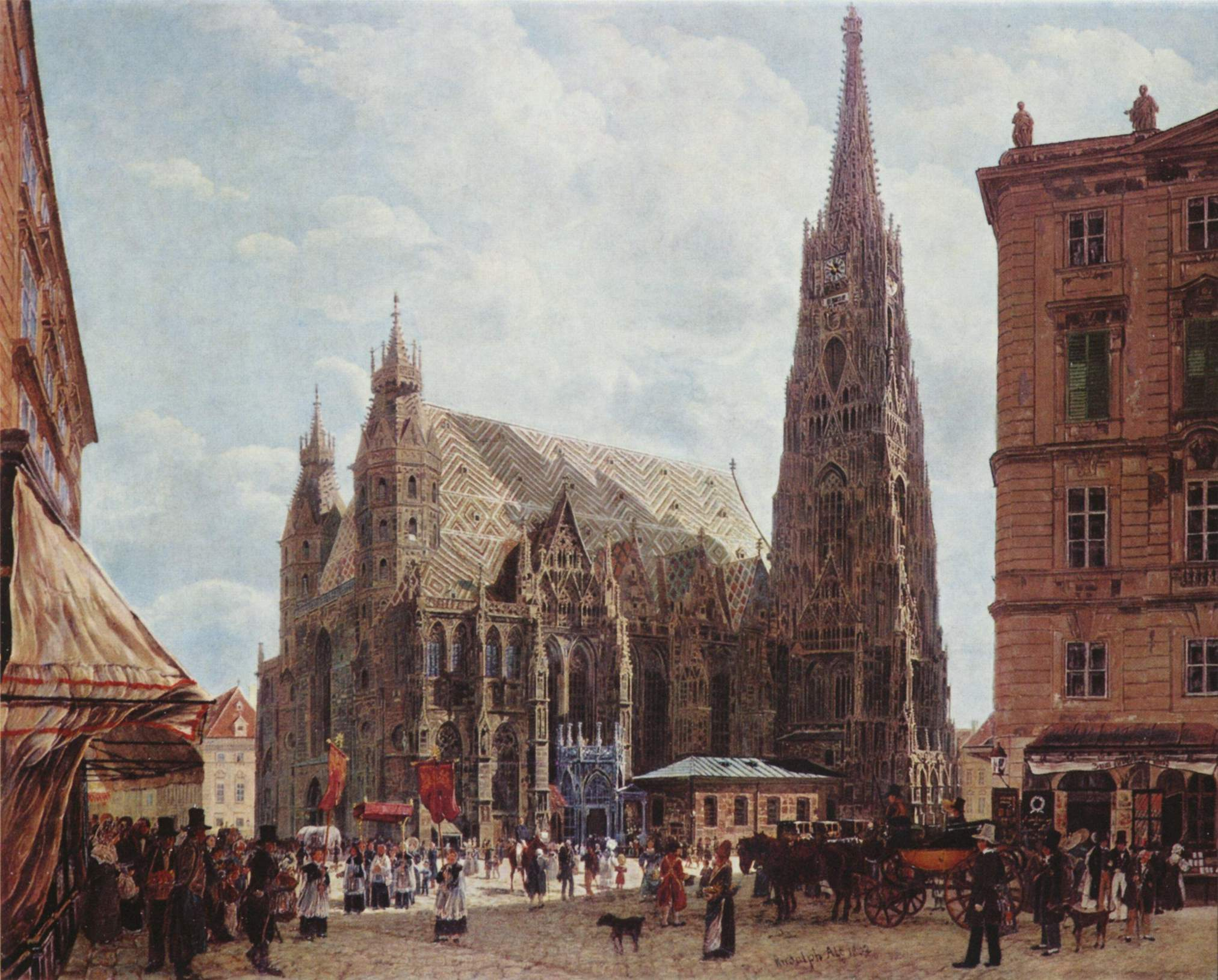 View of the Stephansdom from Stock im Eisen Platz, 1832