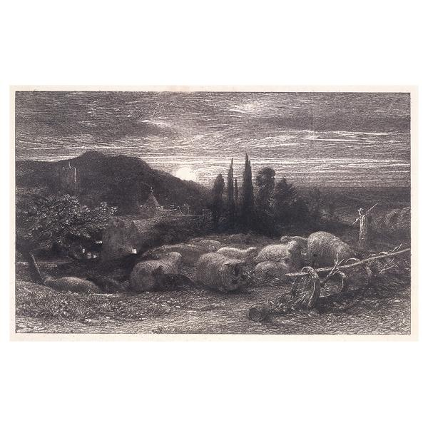 The Rising Moon or An English Pastoral or Evening Pastures, 1855 - Samuel Palmer