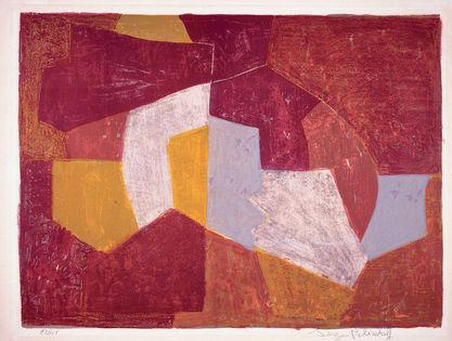 Composition carmin, brune, jaune et grise, 1956 - Serge Poliakoff