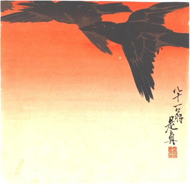 Crows Fly by Red Sky at Sunset, 1880 - Shibata Zeshin