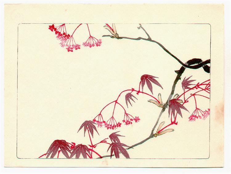 Red Maple - Hana Kurabe, 1878 - Шибата Зешин