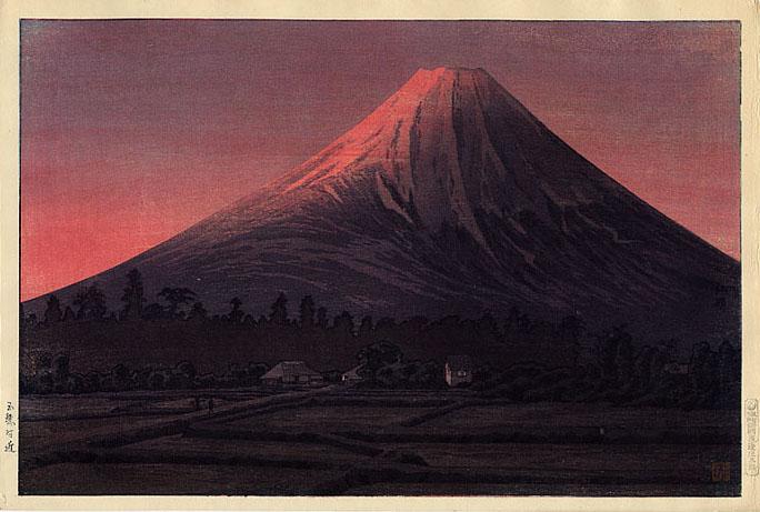Fuji near Tamaho (pink variant), 1936 - Shotei Takahashi