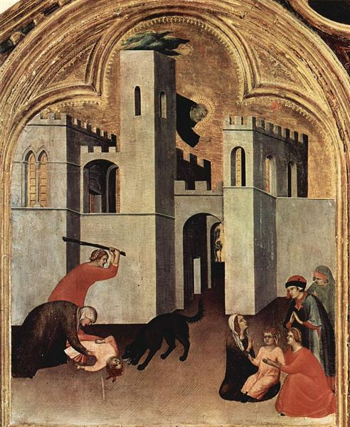 The Miracle of the Child Attacked and Rescued by Augustine Novello, 1328 - Simone Martini