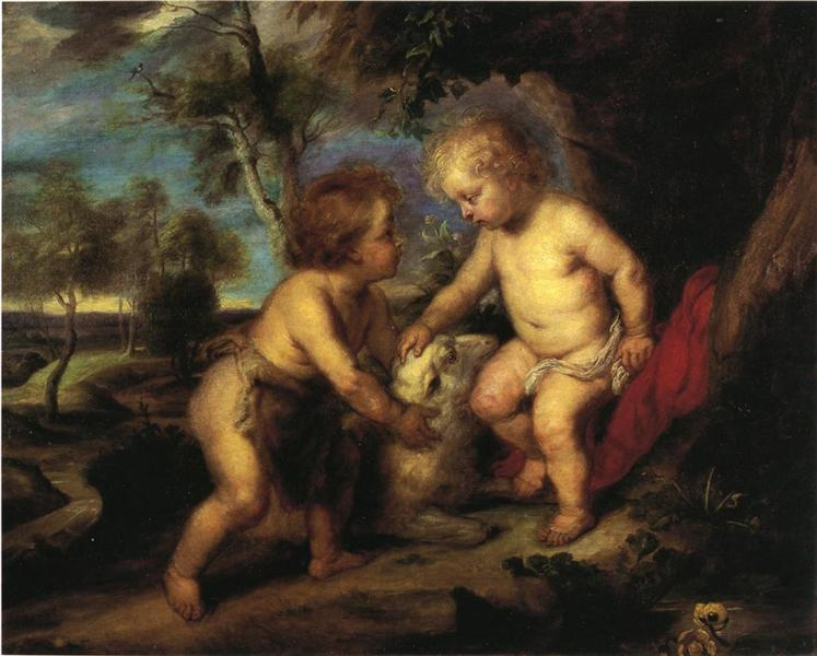 The Christ Child and the Infant St. John after Rubens, 1883 - T. C. Steele