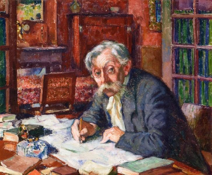 Emile Verhaeren Writing, 1915 - Theo van Rysselberghe