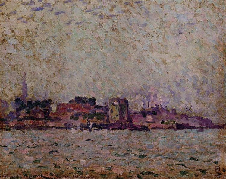 Morning Fog over the Port of Veer, Holland, 1906 - Theo van Rysselberghe