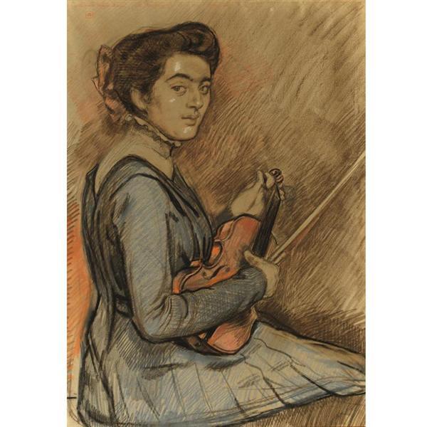 Renee Druet with violin, 1910 - Theo van Rysselberghe