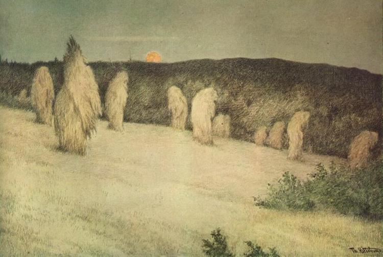Kornstaurer i Maaneskinn - Theodor Severin Kittelsen
