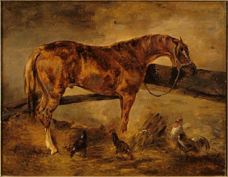 StudyforHorseturnedrightwiththreehensandarooster - Théodore Géricault