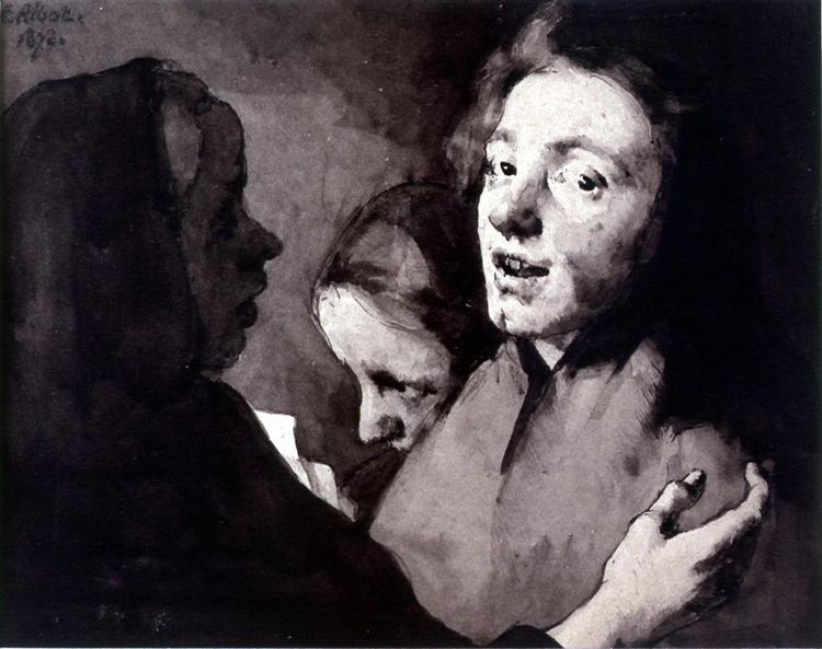 Conversation Piece: Three Heads, 1872 - Theodule Ribot